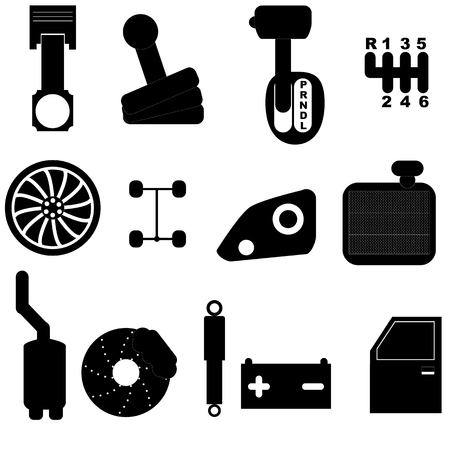 muffler: car maintenance icon set