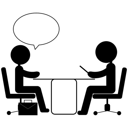 peruse: pictogram of job interview