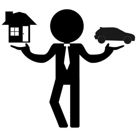 choose: businessman choose home or car