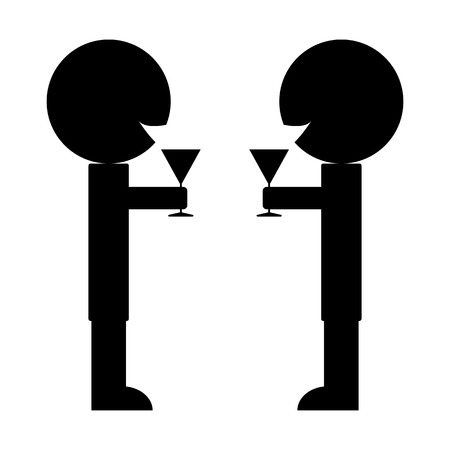 clink: pictogram two man clink glasses of wine to celebrate a success