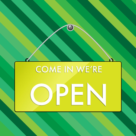 hanging sign: OPEN hanging sign on green strip background