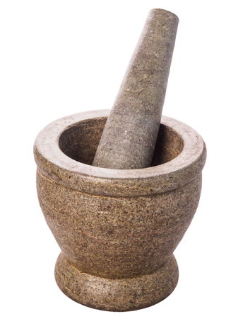stone mortar and pestle isolated on white background Stock Photo