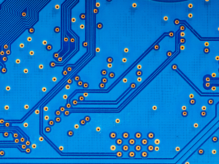 closeup of blue circuit board background