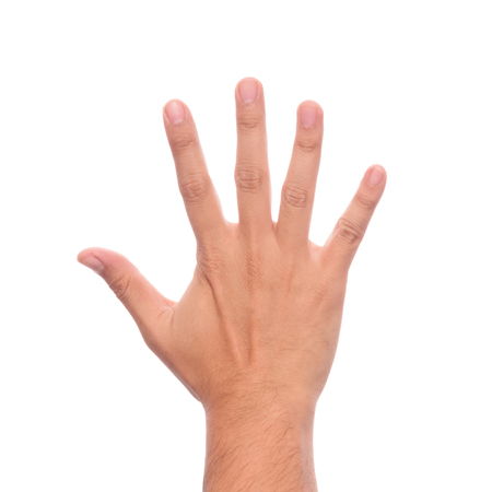Male hand is showing five fingers isolated on white background with clipping path.