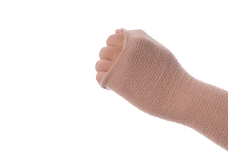 male hand wearing bandage arm from pain. Banco de Imagens - 106905770