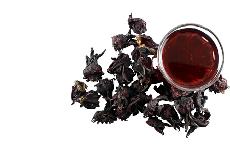 Roselle and juice isolated  on white background Banco de Imagens