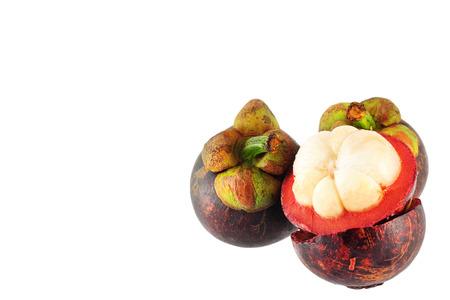 Tropical fruit Mangosteen isolated on white background Banco de Imagens