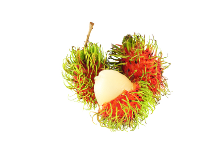 Delicious fruit of Thailand Fresh Rambutan isolated on white background with clipping path.