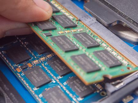 installing memory. Laptop RAM upgrade.