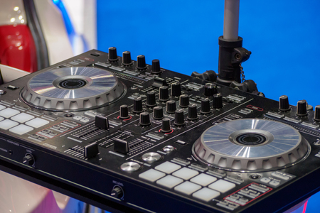 Close up of Pro dj controller selective focus. Banco de Imagens