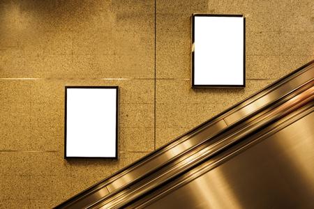 blank billboard located in subway for advertising mockup concept. Banco de Imagens