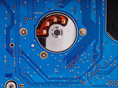 closeup of blue circuit board background