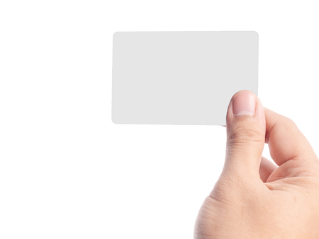 hand holding empty grey name card isolated on white background.