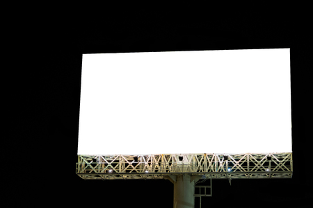 blank billboard for outdoor advertising poster at night time.