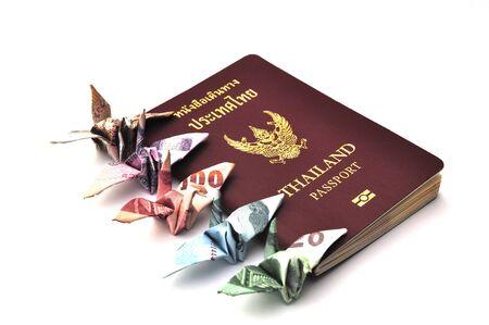 Thailand passport with bird banknotes