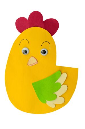 chicken made from paper craft on white background  photo