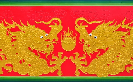 dragon painting on temples wall  photo