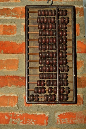 old abacus on old wall