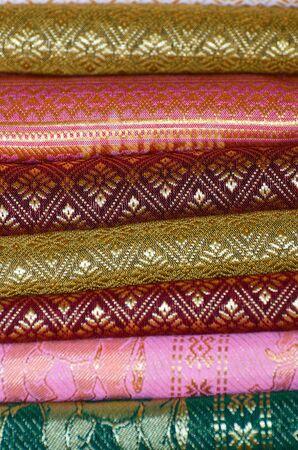 soft sell: Handmade woven fabrics in thai market Stock Photo
