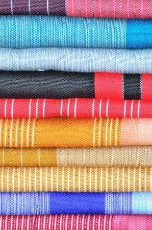Handmade woven fabrics in thai market Stock Photo