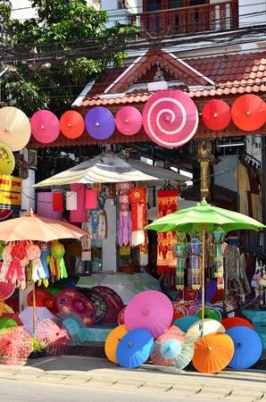 CHIANG MAI, THAILAND - JAN 21: Unidentified shop at The 29th BO SANG Umbrella fair and SANKAMPHAENG handicraft festival on Jan 21, 2012 in Chiang Mai, Thailand. Editorial