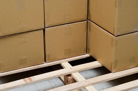 Stack of carton boxes package on pallet Stock Photo - 13220884