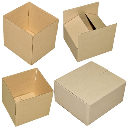 close up of carton box on white background photo