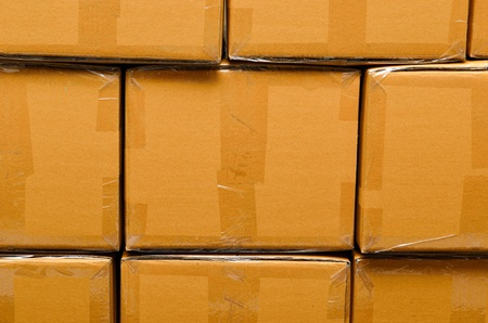 Stack of carton boxes package for background photo