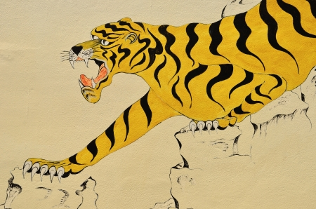 generality: Tiger painting on wall in thai temple  Generality in Thailand, any kind of art decorated in Buddhist church etc  no restrict in copy or use