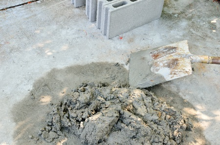 under construction with cement concrete work