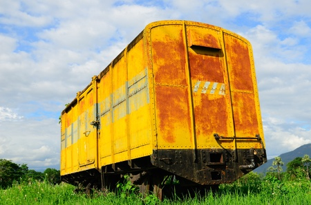 Old train bogie , left at the grass. photo