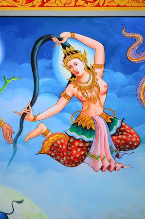 hanuman: CHIANG MAI, THAILAND - Traditional Thai style painting art on temple wall at Wat Pa Pao(Pa Pao temple)