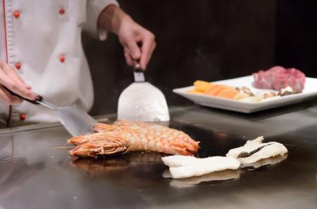 Teppanyaki japanese cuisine sauteed seafood delicious