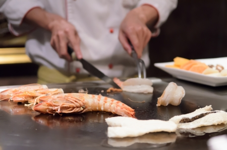 Teppanyaki japanese cuisine sauteed seafood delicious photo