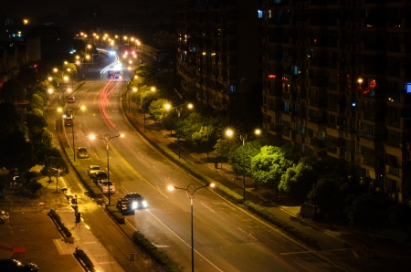 Car lights trails at the highway in China Stock Photo - 14599925