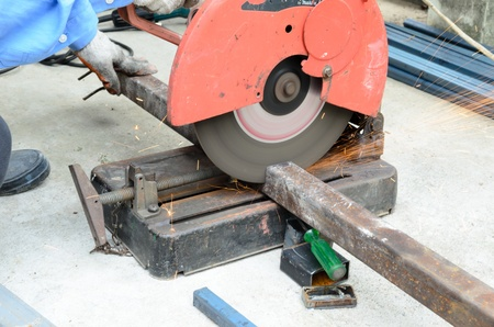 cutting steel with machine for cutting steel. Stock Photo - 15596106