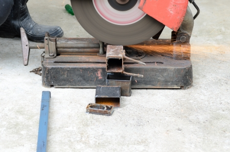 cutting steel with machine for cutting steel. Stock Photo - 15596091
