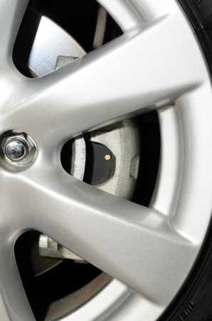 Close up of a car wheel with brake Stock Photo