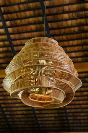 big bamboo lantern hang on roof photo