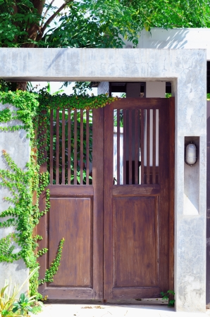 A house brown wood door , asian style. photo