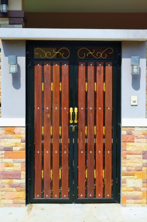 A house brown wood door , asian style. Stock Photo - 16415288