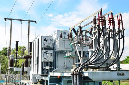 Electrical power transformer in high voltage substation photo