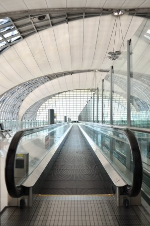The steel automatic escalators in airport