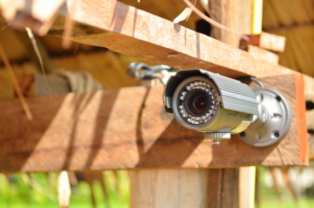 Security camera on the wood wall photo