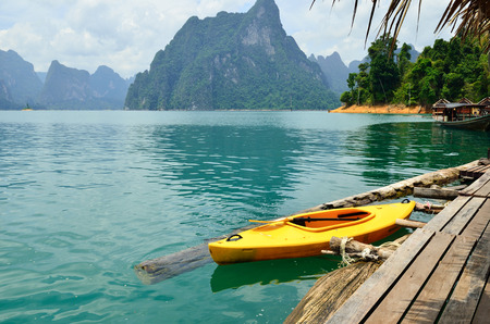 View in Chiew Larn Lake, Khao Sok National Park, Suratthani Province, Thailand. Stock Photo