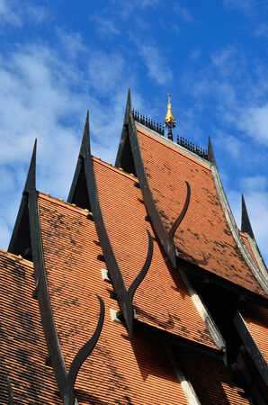 ornately: Detail of ornately decorated temple roof in chiang rai,  thailand