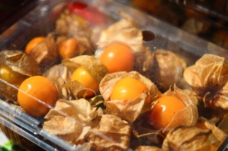 cape gooseberry: Cape Gooseberry in a plastic package on market
