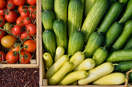 Mixed vegetables in a basket for sale Stock Photo
