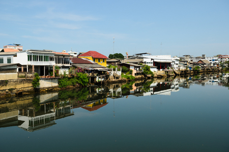 Community house beside the river at Chanthaburi province, Thailand