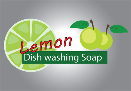 dish washing: Lemon brand for dish washing soap Illustration